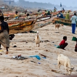 Polluted beach in the fishing town of Saint Louis, Senegal, West Africa.
